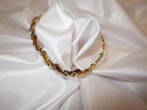 bracciale con maglie intrecciate oro bianco giallo e rosso vendo oro bareggio